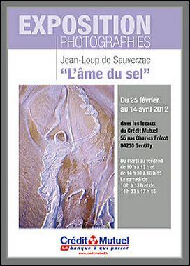 Exposition L'Âme du Sel de Jean-Loup de Sauverzac au Crédit Mutuel de Gentilly du 25 février au 14 avril 2012